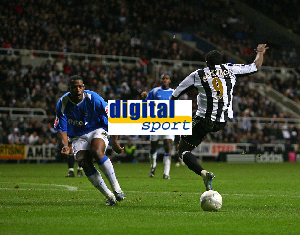 Photo: Andrew Unwin.<br /> Newcastle United v Birmingham City. The FA Cup. 17/01/2007.<br /> Newcastle's Obafemi Martins misses the ball completely as he tries to take a shot at goal.