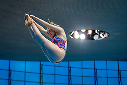Katherine Torrence of Great Britain warms up befor the Womens 1m Springboard  - Mandatory byline: Rogan Thomson/JMP - 11/05/2016 - DIVING - London Aquatics Centre - Stratford, London, England - LEN European Aquatics Championships 2016 Day 3.