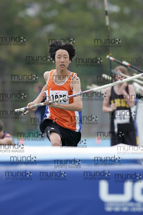 Kevin Park  competing in the midget boys pole vault at the 2007 OFSAA Ontario High School Track and Field Championships in Ottawa.