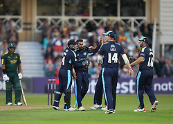 Adil Rashid of Yorkshire Vikings (C) celebrates taking the wicket of Brendan Taylor of Notts Outlaws (Not Pictured) - Mandatory by-line: Jack Phillips/JMP - 15/07/2016 - CRICKET - Trent Bridge - Nottingham, United Kingdom - Nottingham Outlaws v Yorkshire Vikings - Natwest T20 Blast