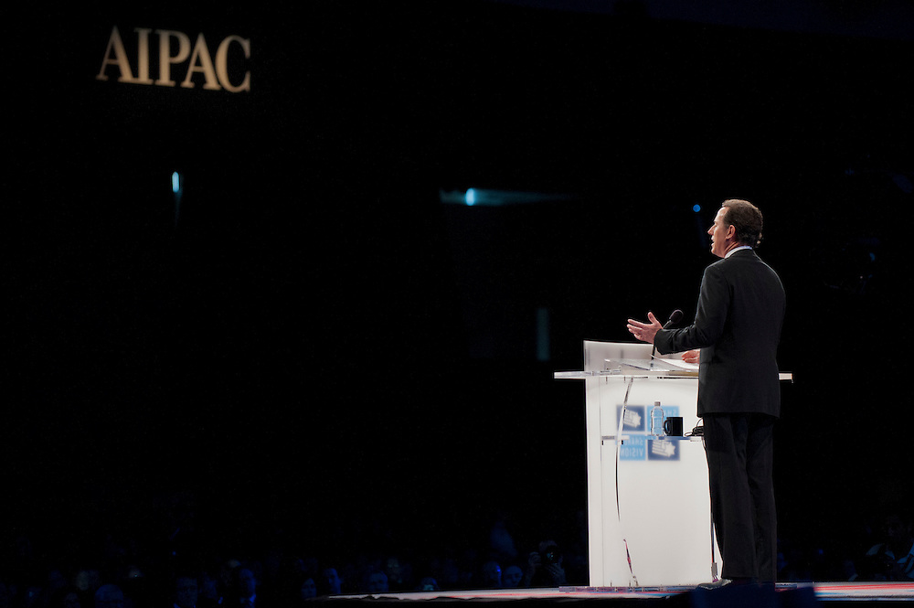 Former Senator and Republican Presidential Candidate Rick Santorum speaks at the American Israel Public Affairs Conference (AIPAC) in Washington, DC, USA on 6 March, 2012. More than 13,000 delegates are expected to attend the convention sponsored by largest pro-Israel lobby in the world and one of the strongest in the United States.