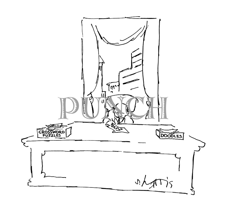 (Businessman's desk with in and out trays marked crossword puzzles and doodles)