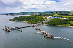 Aerial view of Exxon-Shell Braefoot Bay export terminal on Firth of Forth in Fife, Scotland, UK