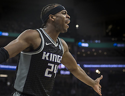 March 1, 2018 - Sacramento, CA, USA - The Sacramento Kings' Buddy Hield (24) protests a foul call in the first quarter during action against the Brooklyn Nets at the Golden 1 Center in Sacramento, Calif., on Thursday, March 1, 2018. (Credit Image: © Hector Amezcua/TNS via ZUMA Wire)