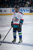 KELOWNA, CANADA - DECEMBER 6: The Pepsi Save on Foods player of the game lines up with the Kelowna Rockets on December 6, 2013 at Prospera Place in Kelowna, British Columbia, Canada.   (Photo by Marissa Baecker/Shoot the Breeze)  ***  Local Caption  ***