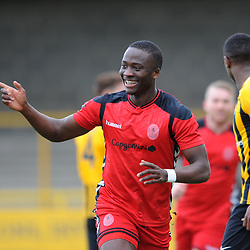 TELFORD COPYRIGHT MIKE SHERIDAN 2/3/2019 - GOAL. Ryan Barnett of AFC Telford (on loan from Shrewsbury Town Football Club) and Dan Udoh of AFC Telford celebrate after Udoh scores to make it 1-0 during the National League North fixture between Boston United and AFC Telford United at the York Street Jakemans Stadium