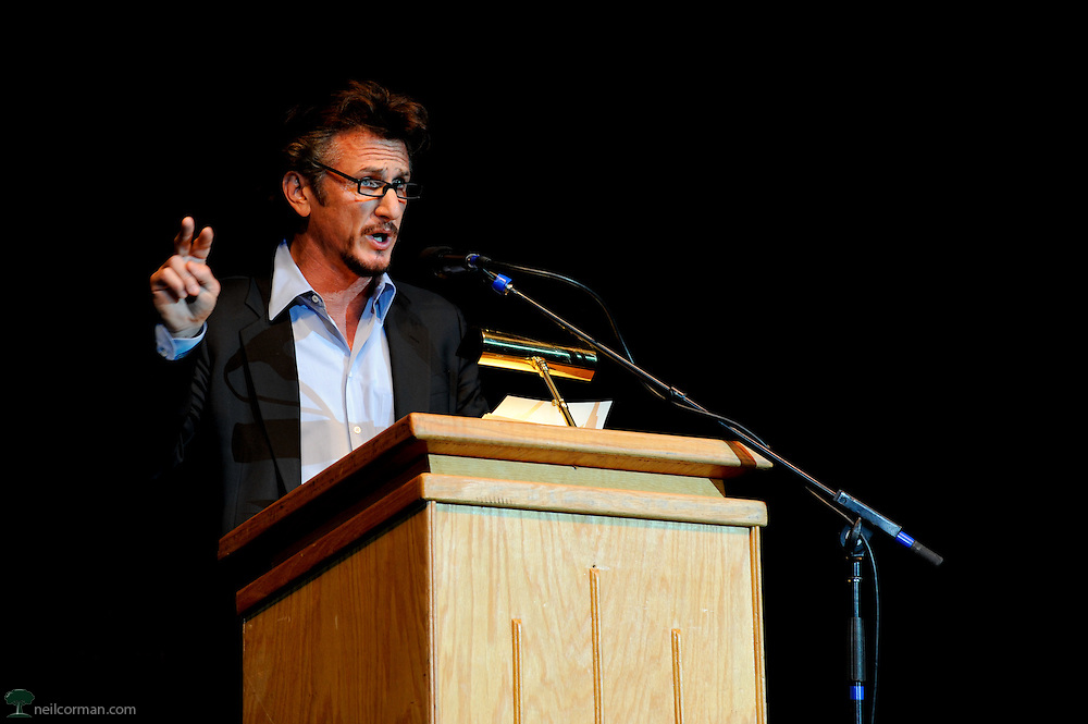 August 27, 2008 - Actor and activist Sean Penn in Denver, Colorado speaking at a Super Rally during the DNC.  The headliner of the event was Ralph Nader, however Penn has yet determined which candidate he will support in the 2008 elections.