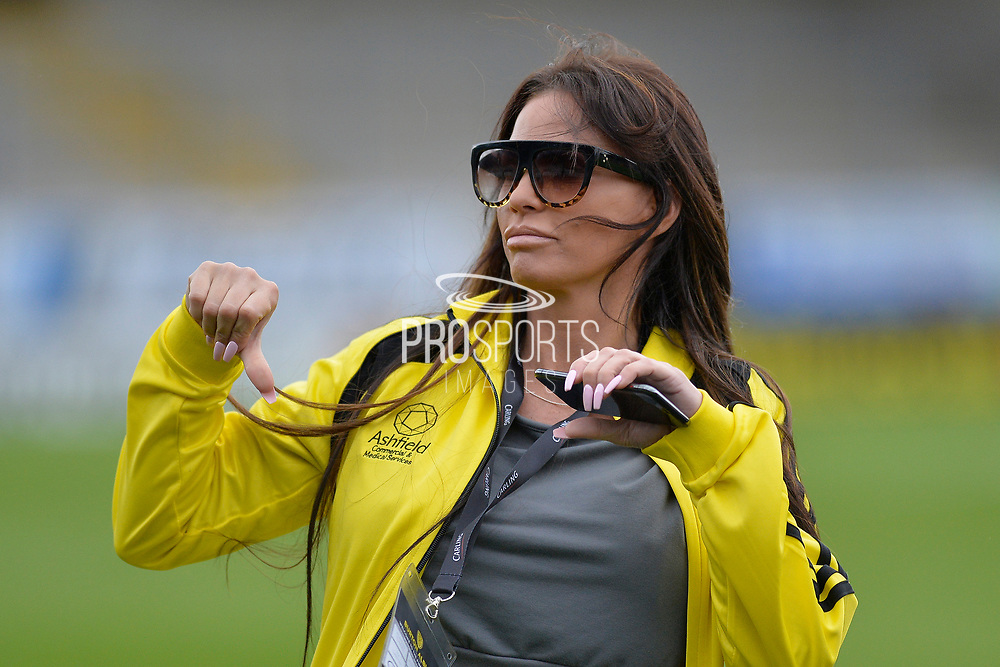 Katie Price gestures during the Sellebrity Soccer match between Katie Price XI and Kerry Katona XI at the Pirelli Stadium, Burton upon Trent, England on 29 April 2018. Picture by Richard Holmes.