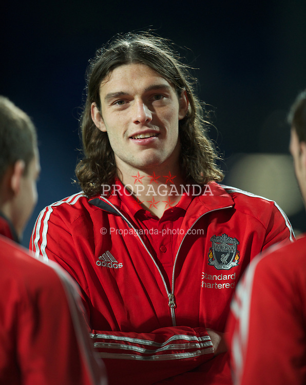 LONDON, ENGLAND - Wednesday, March 21, 2012: Liverpool's Andy Carroll chats to team-mates before the Premiership match against Queens Park Rangers at Loftus Road. (Pic by David Rawcliffe/Propaganda)