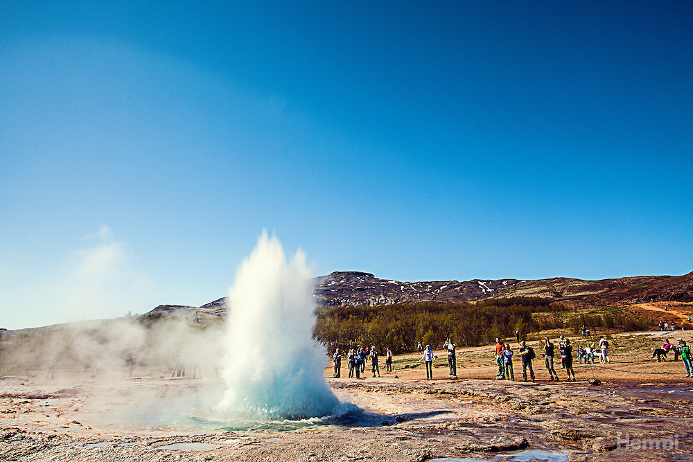 Strokkur is a fountain geyser in the geothermal area beside the Hvita River in Iceland in the southwest part of the country, east of Reykjavik. It is one of Iceland's most famous geysers, erupting about every 4–8 minutes 15 – 20 m high, sometimes up to 40 m high.