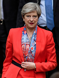 © Licensed to London News Pictures. 09/06/2017. London, UK. British prime minister and leader of the conservative party THERESA MAY is seen leaving Conservative Party headquarters on the morning of the general election results. Photo credit: Ben Cawthra/LNP