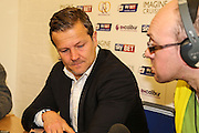 Swindon Town manager Mark Cooper press conference during the Sky Bet League 1 Play Off Second Leg match between Swindon Town and Sheffield Utd at the County Ground, Swindon, England on 11 May 2015. Photo by Shane Healey.