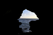 TANGIER, MOROCCO - 26th March 2014 - Cave of Hercules silhouette outline, Cape Spartel, Tangier, Rif region of Northern Morocco
