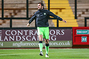 Forest Green Rovers Farrend Rawson(6) warming up during the EFL Sky Bet League 2 match between Cambridge United and Forest Green Rovers at the Cambs Glass Stadium, Cambridge, England on 2 October 2018.