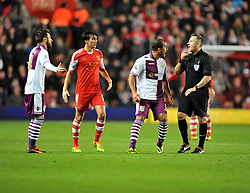 Aston Villa's Gabriel Agbonlahor confronts ref. - Photo mandatory by-line: Alex James/JMP - Tel: Mobile: 07966 386802 04/12/2013 - SPORT - Football - Southampton - St Mary's Stadium - Southampton v Aston Villa - Barclays Premier League