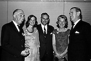 20/5/1965<br /> 5/20/1965<br /> 20 May 1965<br /> <br /> Mr. A. Hitschmann of Waterford; Mrs Hitchmann; Mr. F Vejga Spanish Delegate in the conference; Mrs. and Mrs. Casey of Dublin chatting at a dinner given by the Irish Hide improvement society for the conference delegates at Jurys' Hotel