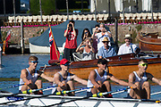 Henley on Thames, England, United Kingdom, 4th July 2019, Henley Royal Regatta, Spectators/ Supporters cheer on Henley RC, Fawely Challenge Cup Quad, near the one mile and one eight barrier,  Henley Reach, [© Peter SPURRIER/Intersport Image]<br /> <br /> 09:16:00 1919 - 2019, Royal Henley Peace Regatta Centenary,