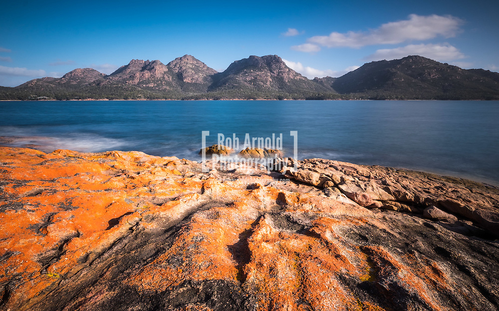 The Hazards mountain range in Freycinet National Park on Tasmania's eastern coast