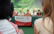 Press conference of Special Olympics Poland during press conference during Day 6 of the FIVB World Championships on July 6, 2013 in Stare Jablonki, Poland. <br /> <br /> Poland, Stare Jablonki, July 06, 2013<br /> <br /> Picture also available in RAW (NEF) or TIFF format on special request.<br /> <br /> For editorial use only. Any commercial or promotional use requires permission.<br /> <br /> Mandatory credit:<br /> Photo by © Adam Nurkiewicz / Mediasport