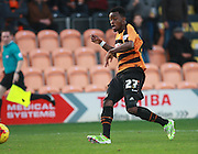 Barnet striker Josh Clarke slots home his second goal during the Sky Bet League 2 match between Barnet and Exeter City at The Hive Stadium, London, England on 31 October 2015. Photo by Bennett Dean.