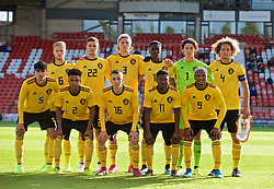 WREXHAM, WALES - Friday, September 6, 2019: Belgium players line-up for a team group photograph before the UEFA Under-21 Championship Italy 2019 Qualifying Group 9 match between Wales and Belgium at the Racecourse Ground. Back row L-R: Dante Rigo, Louis Verstraete, Sebastiaan Bornauw, Albert Sambi Lokonga, goalkeeper Mile Svilar, captain Wout Faes. Front row L-R: Thibault De Smet, Killian Sardella, Alexis Saelemaekers, Francis Amuzu, Loïs Openda. (Pic by Laura Malkin/Propaganda)