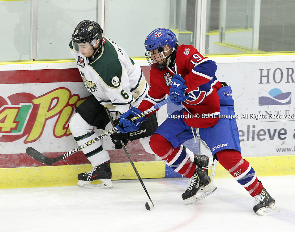 COBOURG, ON  - MAR 4,  2017: Ontario Junior Hockey League, playoff game between the Cobourg Cougars and the Kingston Voyageurs Jordan DiCicco #6 of the Cobourg Cougars and Danny Reidel #19 of the Kingston Voyageurs skates after the puck during the first period.<br /> (Photo by Tim Bates / OJHL Images)