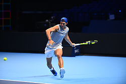 November 10, 2017 - London, England, United Kingdom - Rafael Nadal of Spain is pictured during a training session prior to the Nitto ATP World Tour Finals at O2 Arena, London on November 10, 2017. (Credit Image: © Alberto Pezzali/NurPhoto via ZUMA Press)