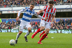March 9, 2019 - London, England, United Kingdom - Queens Park Rangers Nahki Wells is challenged by Stoke City's Danny Batth during the second half of the Sky Bet Championship match between Queens Park Rangers and Stoke City at Loftus Road Stadium, London on Saturday 9th March 2019. (Credit Image: © Mi News/NurPhoto via ZUMA Press)