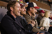 VANCOUVER, BC - MARCH 2: (L-R) Sean Maguire and Colin O'Donoghue, Once Upon a Time cast members watch the 2014 Tim Hortons Heritage Classic game between the Ottawa Senators and the Vancouver Canucks at BC Place on March 2, 2014 in Vancouver, B.C., Canada.  (Photo by Kevin Light/NHLI via Getty Images)