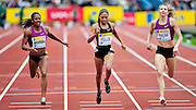 (left to right) USA's Debbie Dunn, Allyson Felix and Rusia's Tatyana Firova compete in the women's 400m final race during the Diamond League athletics meeting at Crystal Palace in London on August 14, 2010.