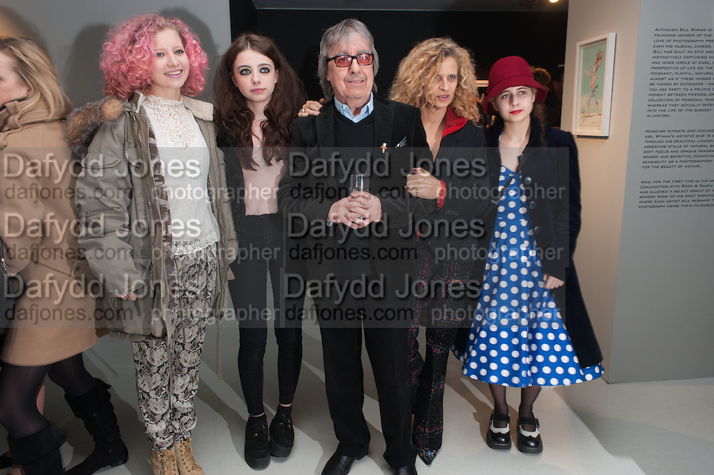 JESSY WYMAN; MATILDA WYMAN; BILL WYMAN; SUZANNE WYMAN; KATIE , BILL WYMAN - REWORKED' , Photographs by Bill Wyman and reworks by Gerald Scarfe, Pam Glew, Dale Marshall, Penny and James Mylne, Rook & Raven Gallery: 7-8 Rathbone Place, London. 26 February 2013