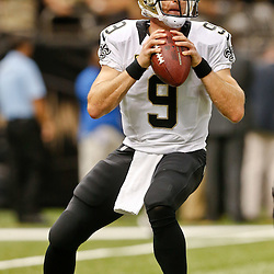 Sep 21, 2014; New Orleans, LA, USA; New Orleans Saints quarterback Drew Brees (9) before a game against the Minnesota Vikings at Mercedes-Benz Superdome. Mandatory Credit: Derick E. Hingle-USA TODAY Sports