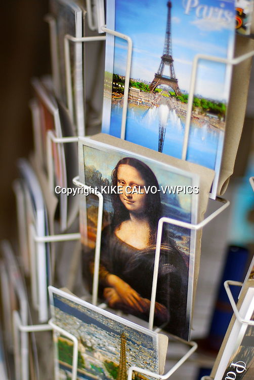 Paris. France., Postcards and souvenirs on a street store