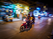 26 DECEMBER 2017 - HANOI, VIETNAM: A motorcycle on a street in the Old Quarter of Hanoi.       PHOTO BY JACK KURTZ