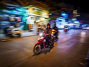 26 DECEMBER 2017 - HANOI, VIETNAM: A motorcycle on a street in the Old Quarter of Hanoi.       PHOTO BY JACK KURTZ