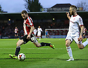 Alan Judge bursting into the Boro box during the Sky Bet Championship first leg play off match between Brentford and Middlesbrough at Griffin Park, London, England on 8 May 2015. Photo by Matthew Redman.
