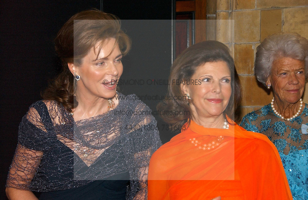 Left to right, HM QUEEN NOOR OF JORDAN and HM QUEEN SILVIA OF SWEDEN at a gala dinner in the presence of HM Quenn Silvia of Sweden and HM Queen Noor of Jordan in aid of the charity Mentor held at the Natural History Museum, Cromwell Road, London on 23rd May 2006.<br /><br />NON EXCLUSIVE - WORLD RIGHTS
