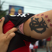 Flamengo fans display their tattoo's before their teams match against Palmeiras in the Futebol Brasileirao  League match at Estadio Olímpico Joao Havelange, Rio de Janeiro, Palmeiras won the match 3-1. Rio de Janeiro,  Brazil. 25th September 2010. Photo Tim Clayton