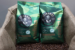 © Licensed to London News Pictures. 07/04/2016. Bags of coffee and coffee beans on display at stand at The London Coffee Festival. Now its 4th year, will attract over 35,00 visitors over the four day event. London, UK. Photo credit: Ray Tang/LNP