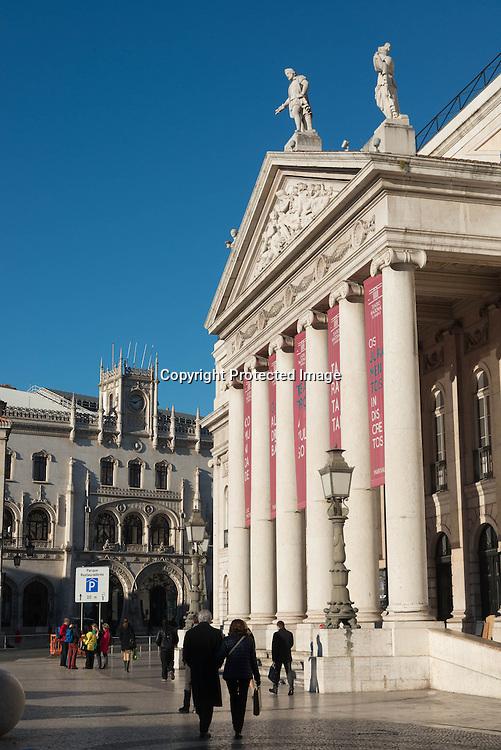 Potugal. Lisbon. Teatro Nacional D Maria II (National Theatre Maria II), on Plaza Rossio Rossio square in the  city cnter /  le theatre national sur La place du Rossio centre ville de Lisbonne