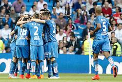 23.05.2015, Estadio Santiago Bernabeu, Madrid, ESP, Primera Division, Real Madrid vs FC Getafe, 38. Runde, im Bild Getafe's players celebrate goal // during the Spanish Primera Division 38th round match between Real Madrid CF and Getafe FCat the Estadio Santiago Bernabeu in Madrid, Spain on 2015/05/23. EXPA Pictures &copy; 2015, PhotoCredit: EXPA/ Alterphotos/ Acero<br /> <br /> *****ATTENTION - OUT of ESP, SUI*****