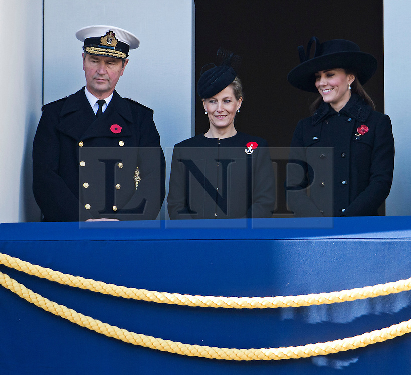 © London News Pictures. 11/11/2012. London, UK. Sophie, Countess of Wessex (centre) and Catherine Duchess of Cornwall (right) look on during the Remembrance Day Ceremony at the Cenotaph on November 13, 2011 in London, United Kingdom. Politicians and Royalty joined the rest of the county in honouring the war dead by gathering at the iconic memorial to lay wreaths and observe two minutes silence. Photo Credit: Ben Cawthra/LNP