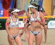 STARE JABLONKI POLAND - July 2: Nadine Zumkehr /1/ and Joana Heidrich /2/ of Switzerland in action during Day 2 of the FIVB Beach Volleyball World Championships on July 2, 2013 in Stare Jablonki Poland.  (Photo by Piotr Hawalej)
