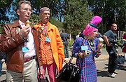 MICHAEL DAVIS; ANDREW LOGAN; ZANDRA RHODES, PRESS PREVIEW. The RHS Chelsea Flower Show 2011. The Royal Hospital grounds. Chelsea. London. 23 May 2011. <br /> <br />  , -DO NOT ARCHIVE-© Copyright Photograph by Dafydd Jones. 248 Clapham Rd. London SW9 0PZ. Tel 0207 820 0771. www.dafjones.com.