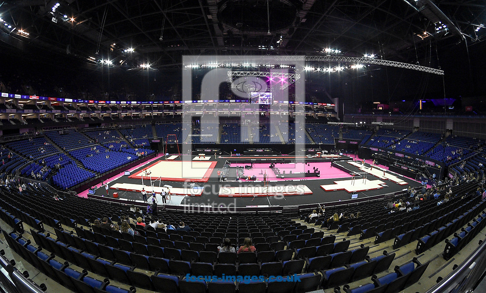 The O2 arena during the Men's/Women's iPro World Cup of Gymnastics 2017 at the O2 Arena, London, UK.<br /> Picture by Hannah Fountain/Focus Images Ltd 07814482222<br /> 08/04/2017