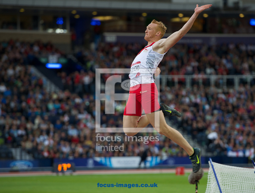 Greg Rutherford England competing in the mens long jump  on day four of the athletics  at Hampden Park, Glasgow<br /> Picture by Alan Stanford/Focus Images Ltd +44 7915 056117<br /> 29/07/2014