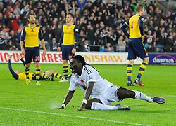 Swansea City's Bafetibis Gomis celebrates scoring the winning goal  - Photo mandatory by-line: Joe Meredith/JMP - Mobile: 07966 386802 - 09/11/2014 - SPORT - Football - Swanswa - Liberty Stadium - Swansea City v Arsenal - Barclays Premier League