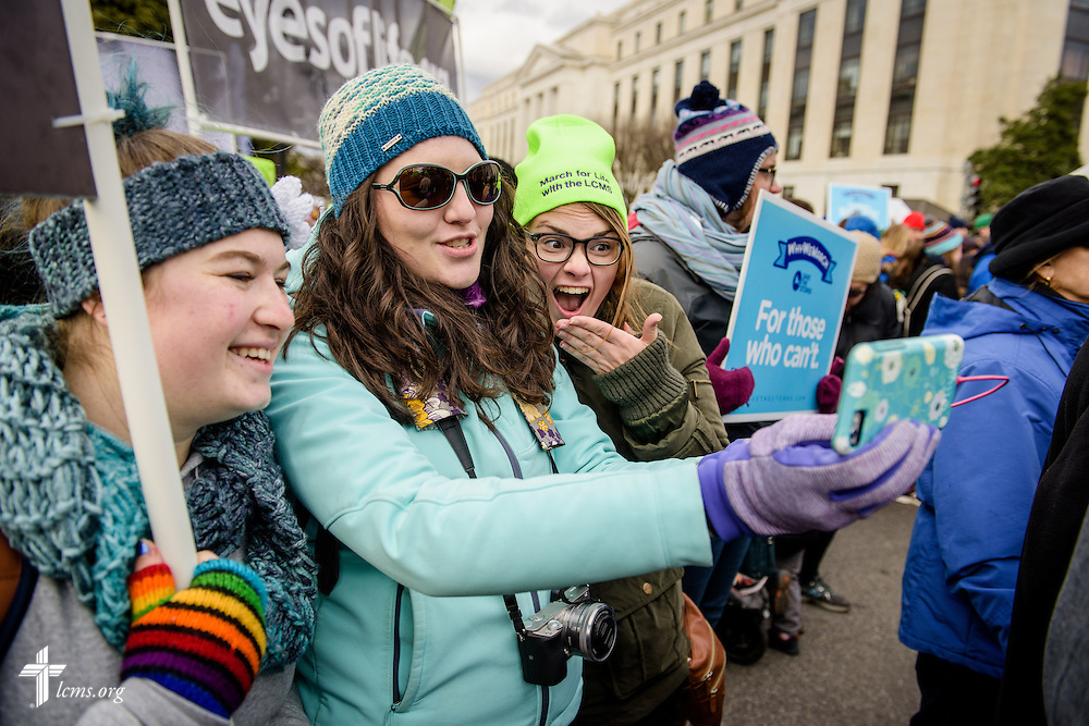 (L-R) Katie Gowan, Laura Davis of Lutherans for Life, and Bethany Daenzer  take a selfie during the March for Life 2017 on Friday, Jan. 27, 2017, in Washington, D.C. LCMS Communications/Erik M. Lunsford