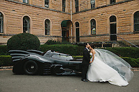 Introducing the super cute Katarina Ilic and Dominic Meoli on their wedding day. They were the coolest couple ever, they had a flipin Batmobile. Photo by Solas weddings