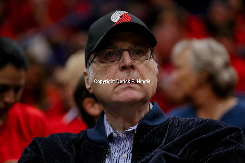 Apr 21, 2018; New Orleans, LA, USA; Portland Trail Blazers owner Paul Allen watches from courtside during the first quarter in game four of the first round of the 2018 NBA Playoffs against the New Orleans Pelicans at the Smoothie King Center. Mandatory Credit: Derick E. Hingle-USA TODAY Sports